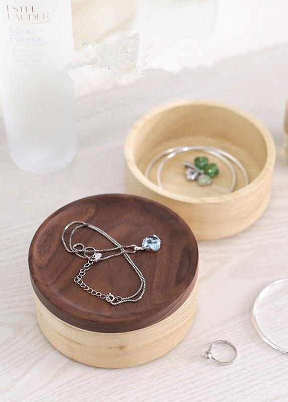 Mallette de rangement en bois avec boîte à bijoux