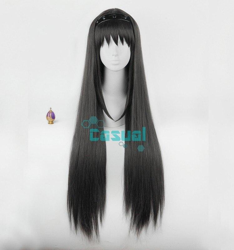 Anime Puella Magi Madoka Magica Wigs Long Straight Black Akemi Homura Cosplay  Wig + Hairband