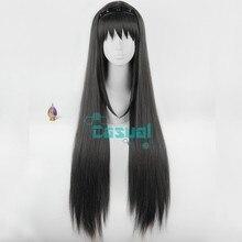 Anime Puella Magi Madoka Magica Wigs Long Straight Black Ake