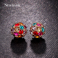 NEWBARK Round Ball Gold Plated Colorful Earrings Studs Cute Korean Rhinestones Small Earring Fashion Jewelry Christmas Gift