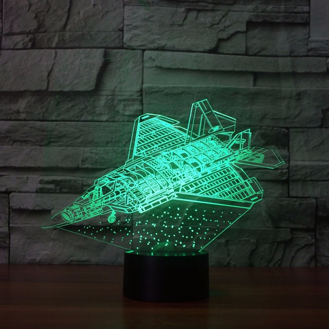 Aircraft 3d Night Light Bedroom Sleeping Lamp 7 Color Changing Plane Shape Small Night Light Atmosphere LED Desk Lamp For Gift