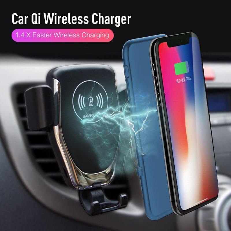 Auto Montieren Qi Drahtlose Ladegerät Für iPhone XS Max X XR 8, schnelle Auto automatische spann Lade Halterung Für Samsung Huawei Xiaomi