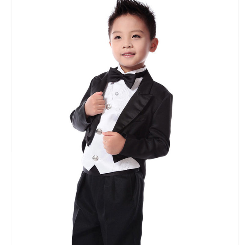 5pcs set new winter New Kids Tuxedo Suit Boys Blazers Kids Boys Formal Suit Boys Suits for Weddings Children Gentleman Clothes 2016 new arrival fashion baby boys kids blazers boy suit for weddings prom formal wine red white dress wedding boy suits