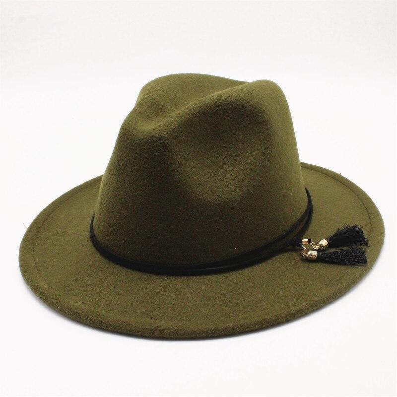 afa3f98eb86 oZyc Wool Wide Brim tassel Floppy Felt Trilby Fedora Hat for Elegant Women  Ladies Winter Autumn