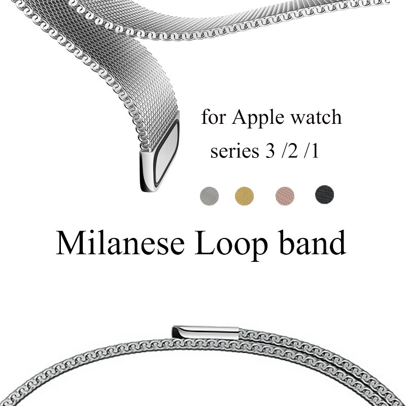 Milanese Loop Band for Apple Watch 38mm 42mm Stainless Steel Metal Mesh Bracelet Strap Wrist Watchband for iwatch Series 3 2 1 eastar milanese loop stainless steel watchband for apple watch series 3 2 1 double buckle 42 mm 38 mm strap for iwatch band
