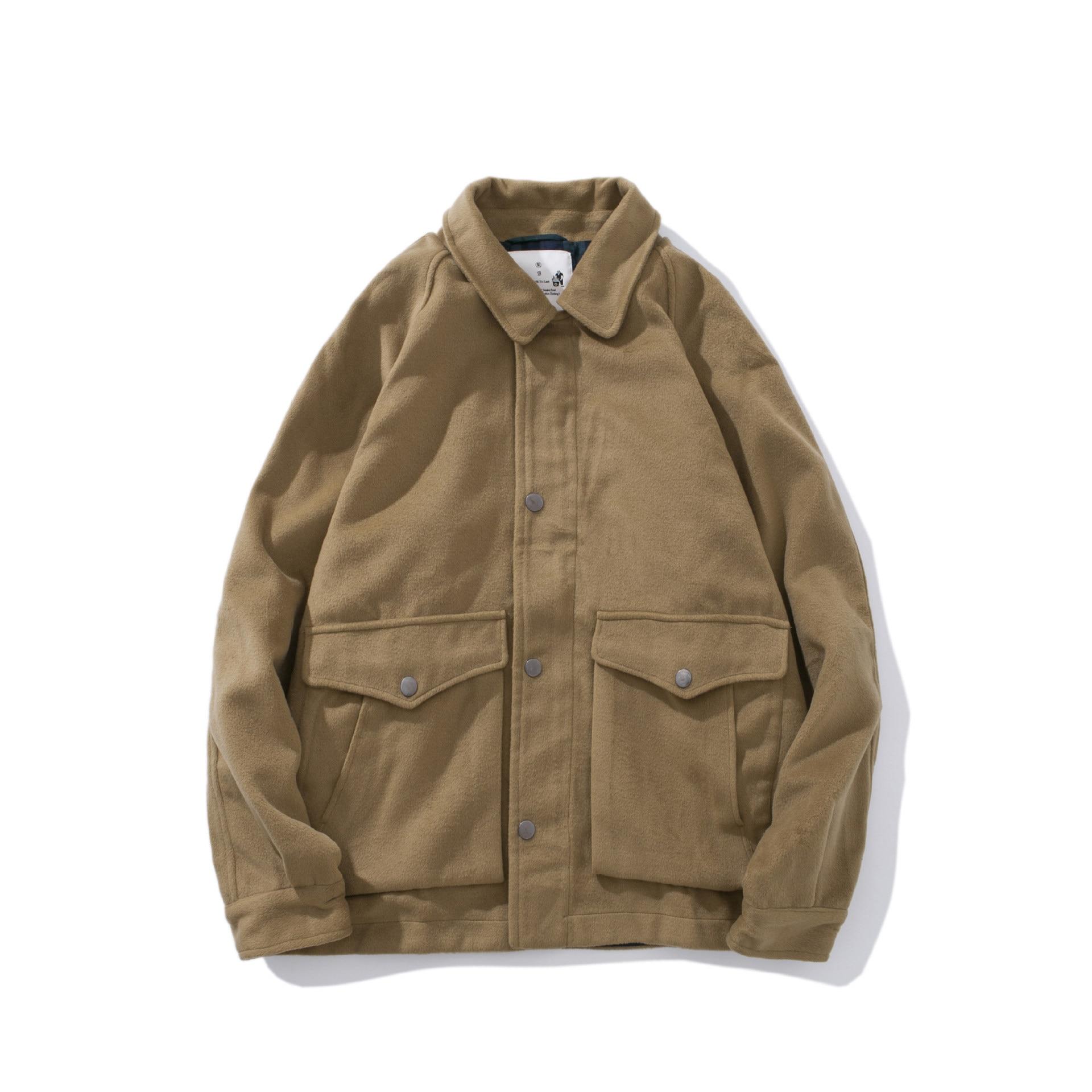Khaki Button Down Men Cargo Jacket Double Pocket Western Vintage Work Turn Down Collar Chore Coat Japanese Harajuku