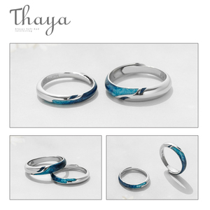 Image 3 - Thaya Bright Shining River Emerald Rings s925 Silver Circular Soft Blue Romantic Jewelry Ring for Women Elegant Simple Gift
