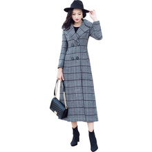 2018 Autumn winter Women's Wool Plaid Coat New Fashion Long Woolen Coat Slim Type Female Winter Wool Jackets Female Outw S-XXXL