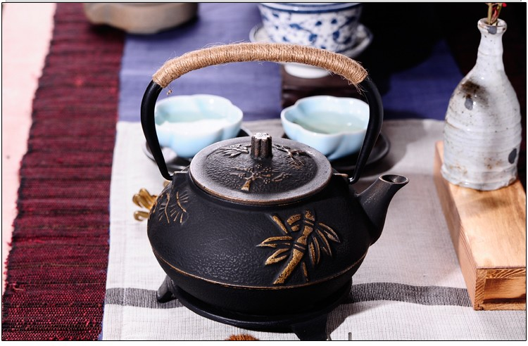New 7 Chioces Cast Iron Teapot Set Japanese Tea Pot Tetsubin Kettle Enamel 900ml Kung Fu Infusers Metal Net Filter Cooking Tools 15
