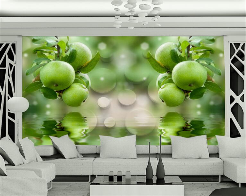 Beibehang green fruit refreshing water reflection background television 3d wallpaper living room mural wallpaper for walls 3 d