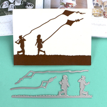DUOFEN METAL CUTTING DIES kids playing kites border  stencil DIY Scrapbook Paper Album 2019 new