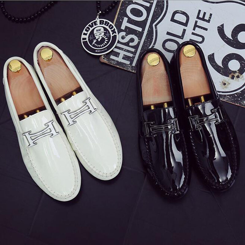 2018 New Arrival Men Fashion Patent Leather Driving Doug Shoes Slip-on Casual Breathable Soft Flats Loafers Shoes Big Size 39-44 men luxury brand new genuine leather shoes fashion big size 39 47 male breathable soft driving loafer flats z768 tenis masculino