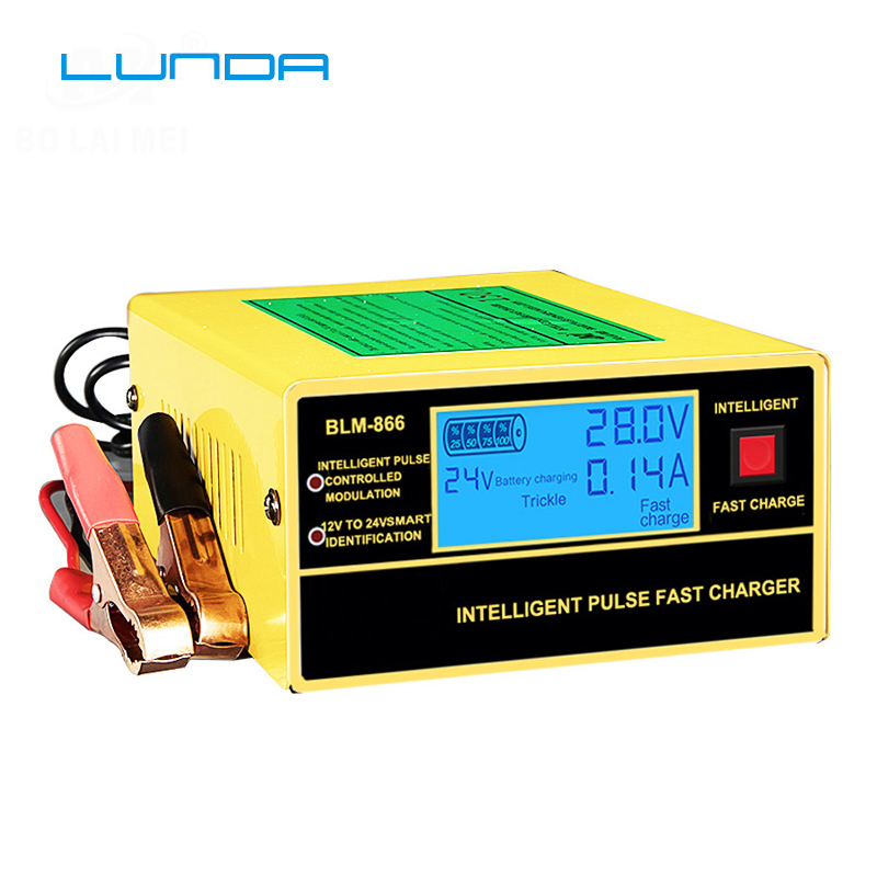 English LCD Display Full Automatic Car Battery Charger 150V/250V To 12V 24V Smart Fast Power Charging For Wet Dry Lead Acid