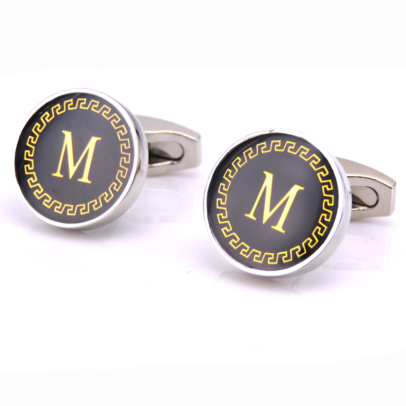 KC2018 High quality mens French shirt sleeves new fashion brand capital letters M cuff links, 1 double free delivery