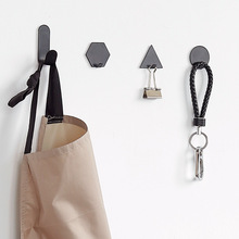 4 Pcs Wrought Iron Hooks Sticky Metal Wall Hanger Kitchen Bathroom Cloth Towel Keys Home Holder Geometry Style