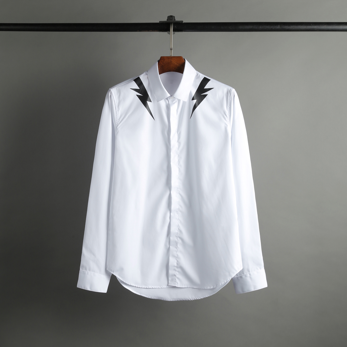 2017 spring summer new lightning collar shoulder print fashion font b shirt b font male catwalk