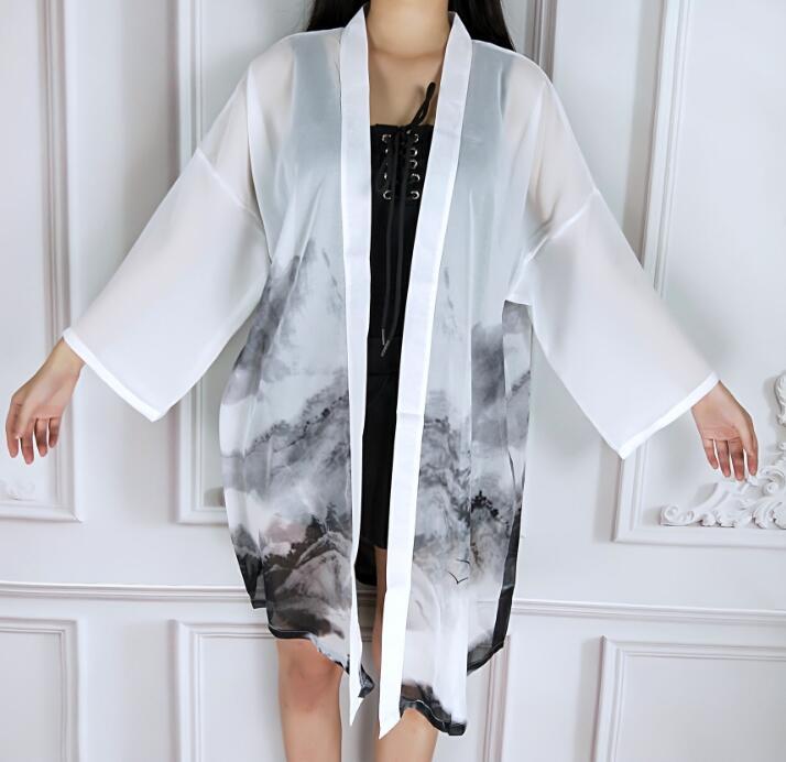 Spring Summer Fashion Coat Japanese Kimono Cardigan Kimono Woman Man White Loose Outer Garment