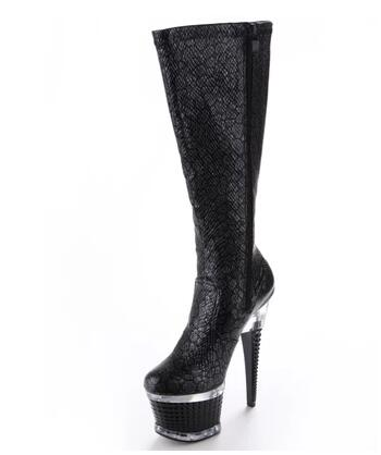 Women black round toe platform high heel knee-high boots Ladies zipper thin heel half boots Female catwalk shoes Big size shoes platform square heel half short real leather boots women fashion round toe zipper shoes lace up female bootie size 34 39
