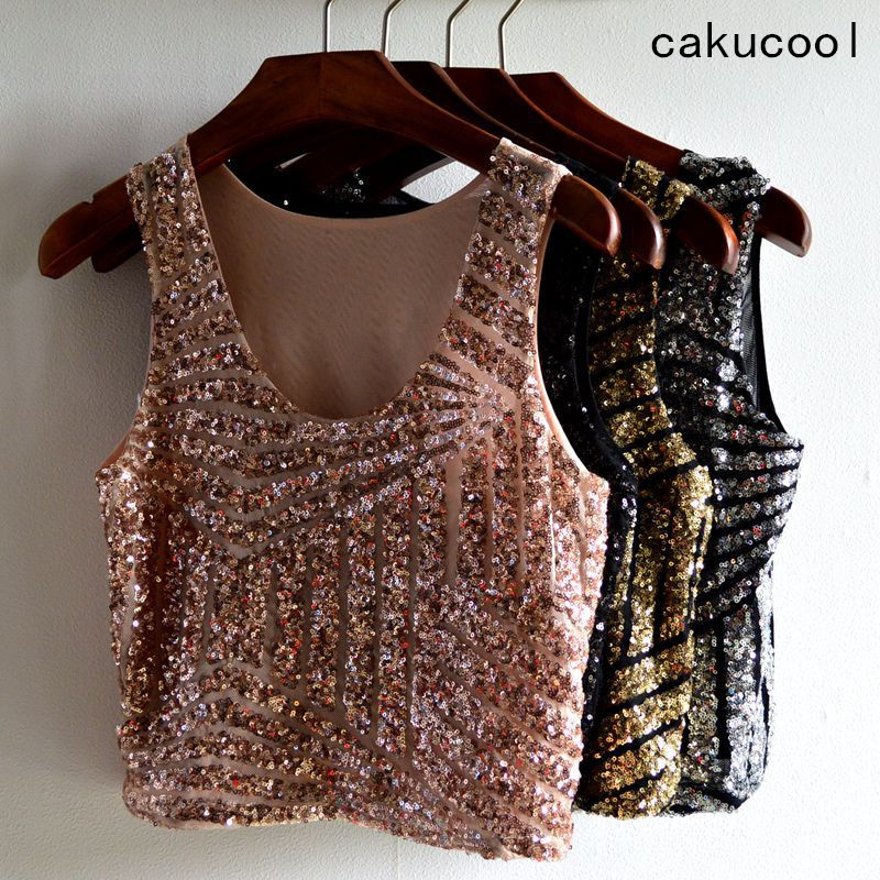 Cakucool Hot Sequined Crop   Tops     Tank   Summer Embellish O-neck Mesh Camis Striped Beading Sexy Party Short Camisole   Tanks     Top   Lady