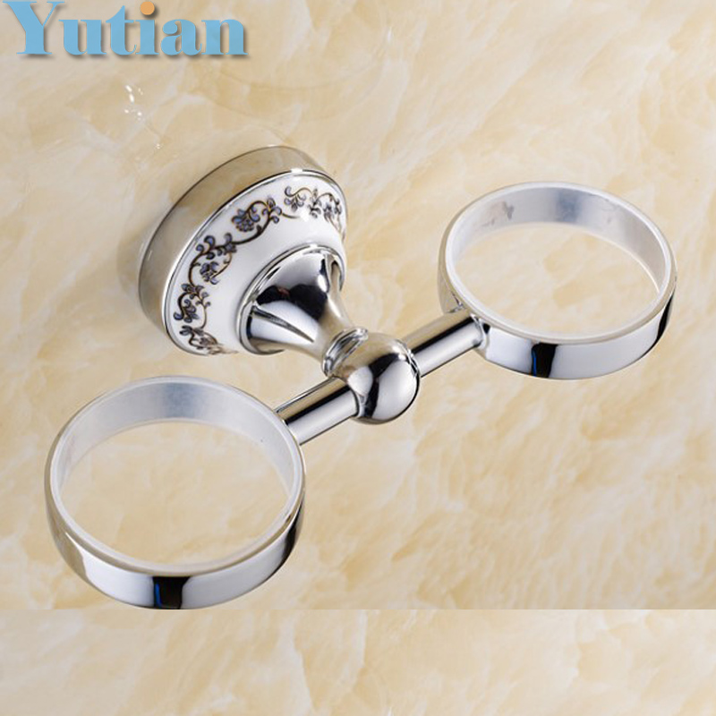 Free shipping Fashion toothbrush holder,Pure copper&glass,,Double cup, Bathroom cup holder bathroom set-wholesale YT-1188 allen roth brinkley handsome oil rubbed bronze metal toothbrush holder