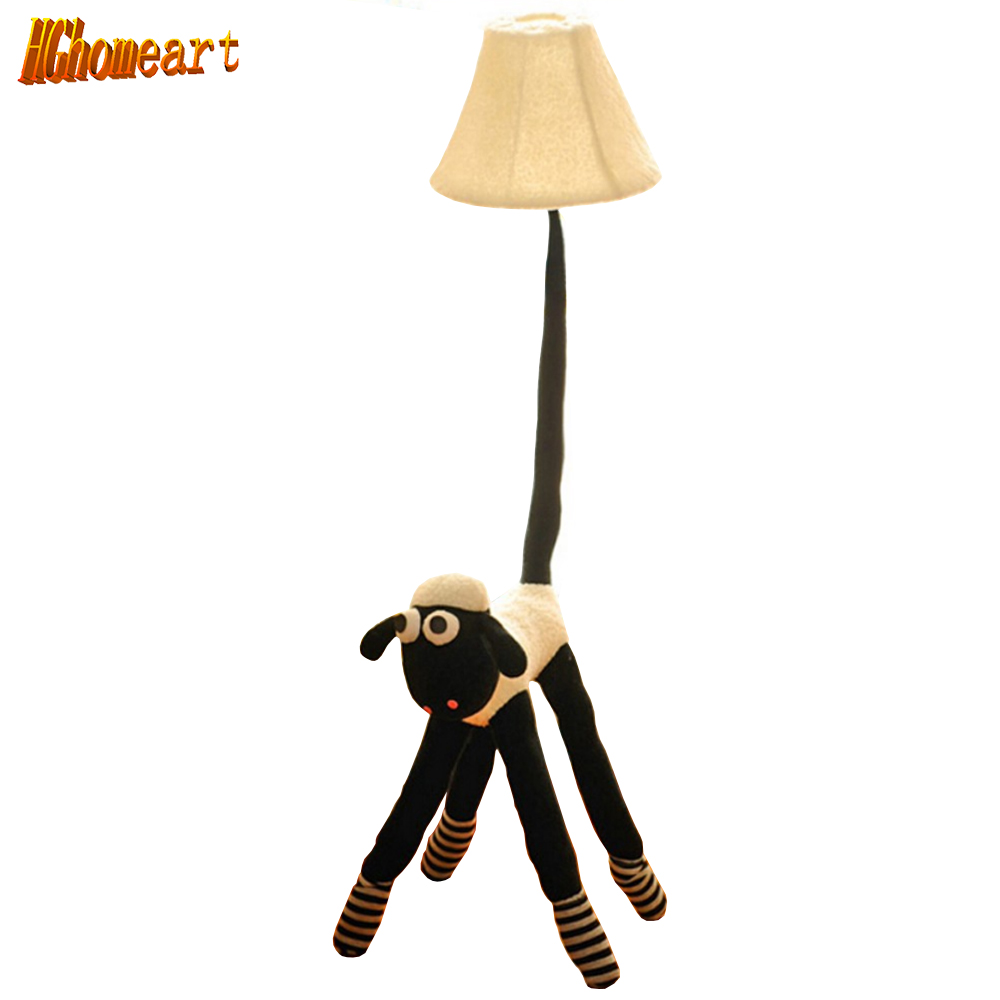 Hghomeart 110V/220V E27 Children Kids Floor Lamps for Living Room Light Luxurious Bedroom Design Led Cute Cloth Goat Stand Lamp cartoon kids light led beside toys kids pendant light lamp kids room night light for children bedroom hanging head lamp