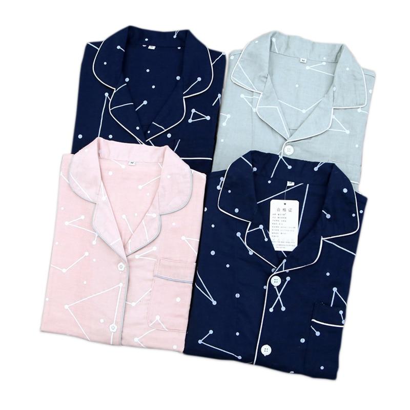 Geometric Couple pyjamas women casual 100% cotton casual   pajama     sets   women spring long sleeve gauze cotton cozy pijama mujer