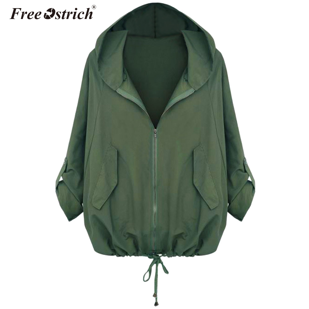 Free Ostrich Windbreaker   Jacket   Women Long Sleeve   Jacket   Autumn Fashion Solid Hooded Coats Female   Basic     Jackets   N30