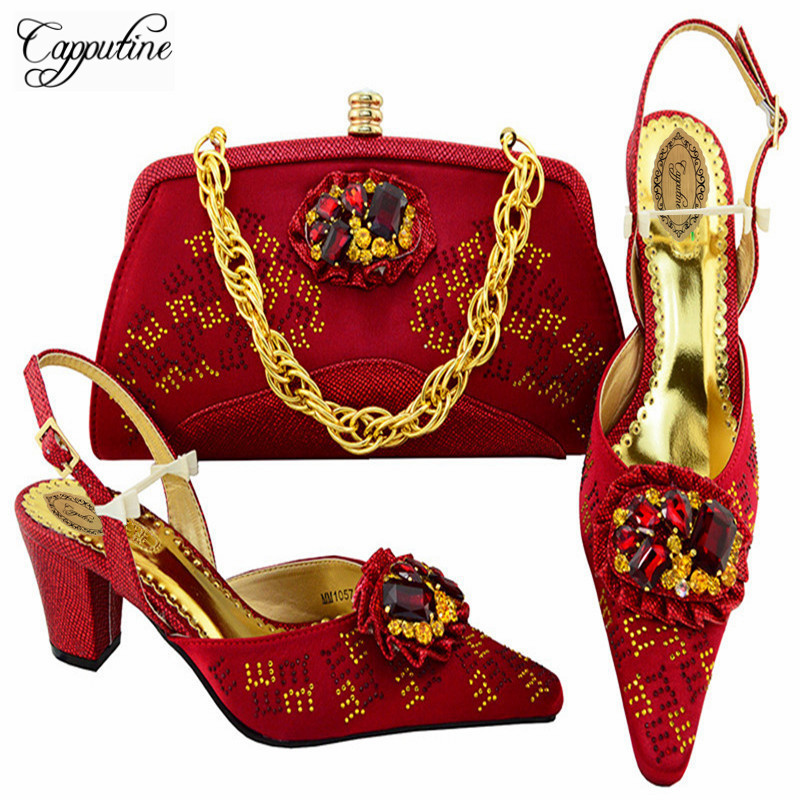 Capputine Italian Design Decorated With Rhinestone Pumps Shoes And Bag Set For Wedding Nigerian Women Shoes And Bag Set M10577 stylish women s satchel with rhinestone and rivet design