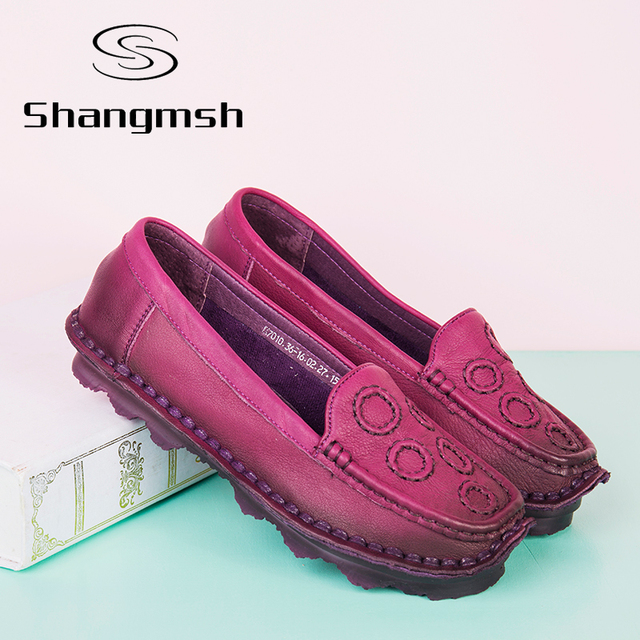 2017 Genuine Leather Women Shoe Soft Bottom Handmade Round Flats Women Loafers Shoes Plus Size Casual Female Flats Driving Shoes