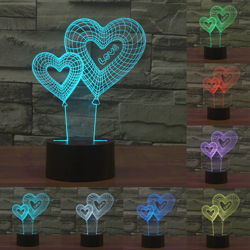 3D LED Night Light Double Hollow Love Heart 7 Color Change Dimming Kids Baby Bedroom USB Touch Sensor Table Lamp IY803543