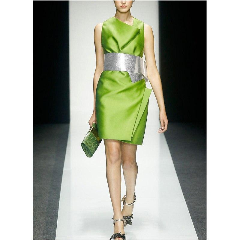 Sans manches décontracté Réservoir Robe 2018 Été Automne Femmes Vert Robe Droite Élégant Mini Robes De Soirée avec Gris Écharpes
