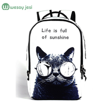 2016 women backpack 3d cartoon cat backpack back to school College backpack New fashion men travel print bag canvas bag pack