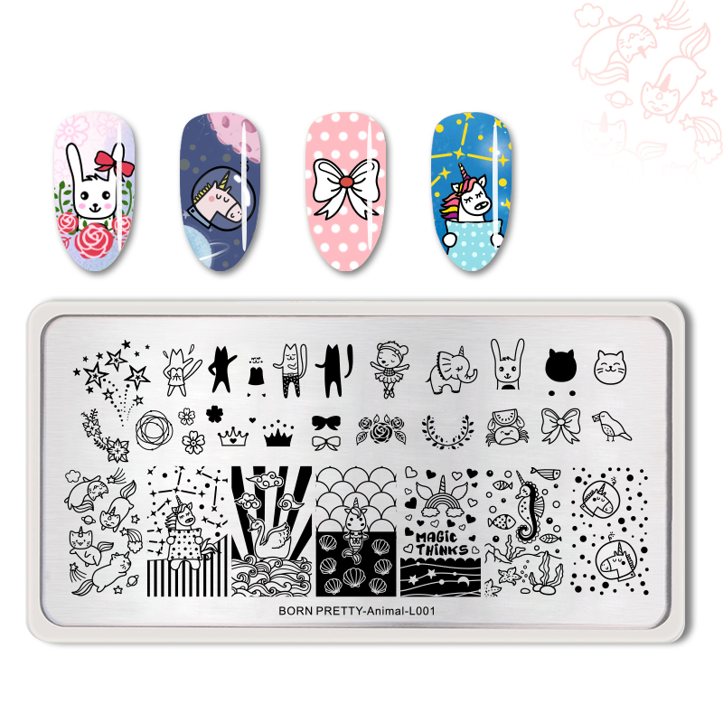 <font><b>BORN</b></font> <font><b>PRETTY</b></font> Rectangle Nail Art Stamping Plates Cute Animals Nail Stamp Image Template For DIY Nails Decors Plates <font><b>L001</b></font> image