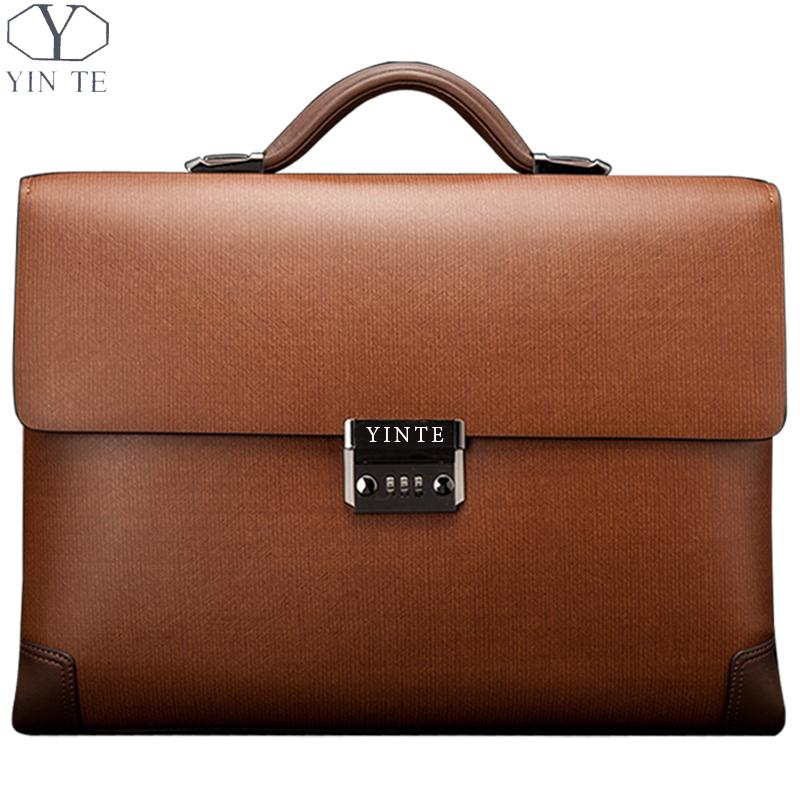 YINTE Leather Men's Briefcase Classic Business Brown Bag Lawyer Office Document Messenger Shoulder Totes Case Portfolio T8369-8 цена и фото