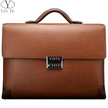 2016 Nyankomst Män Cow Läder Briefcase Klassisk Business Brun Bag Office Messenger Axel Attache Portfolio Tote 8369-8