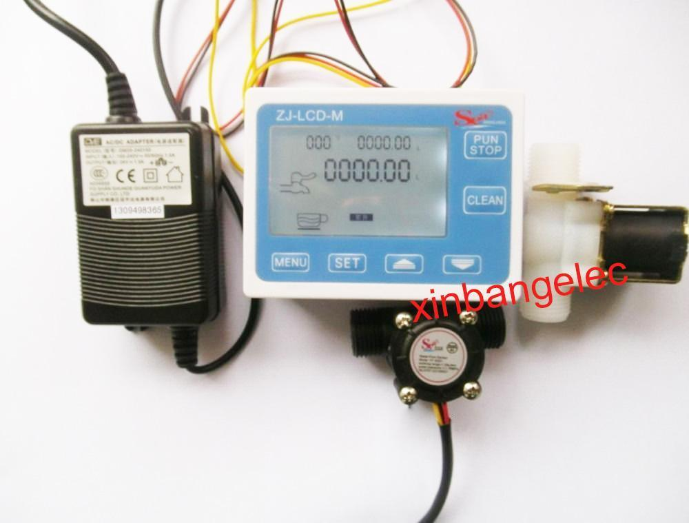 G1/2 Water Flow Control LCD Display+Flow Sensor Solenoid valve Power Adapter