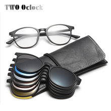 TWO Oclock Magnet Sunglass Women Men Polarized Lens Optical Spectacle Frame Clip On Glasses Men Round TR90 3D Night Vision A2245