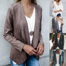 Manteau Femme Suede Fabric Coat Women Jackets Slim Solid Outwear Long