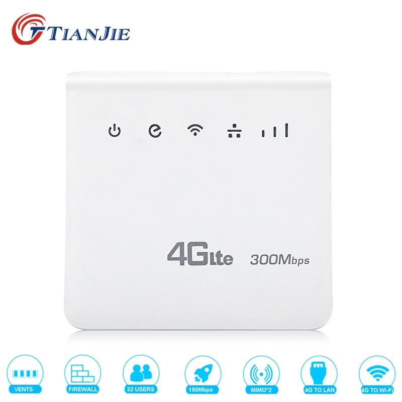 TIANJIE 4g LTE CPE Wifi Routeur FDD TDD Haut Débit 300 Mbps Routeur Mobile Hotspot Sans Fil modem avec carte SIM fente RJ45 LAN Port