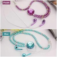 Fashion Diamond Pearl Necklace Bluetooth Earphone Magnetic Wireless Headset for Xiaomi Huawei iPhone Samsung for Girl Women Gift