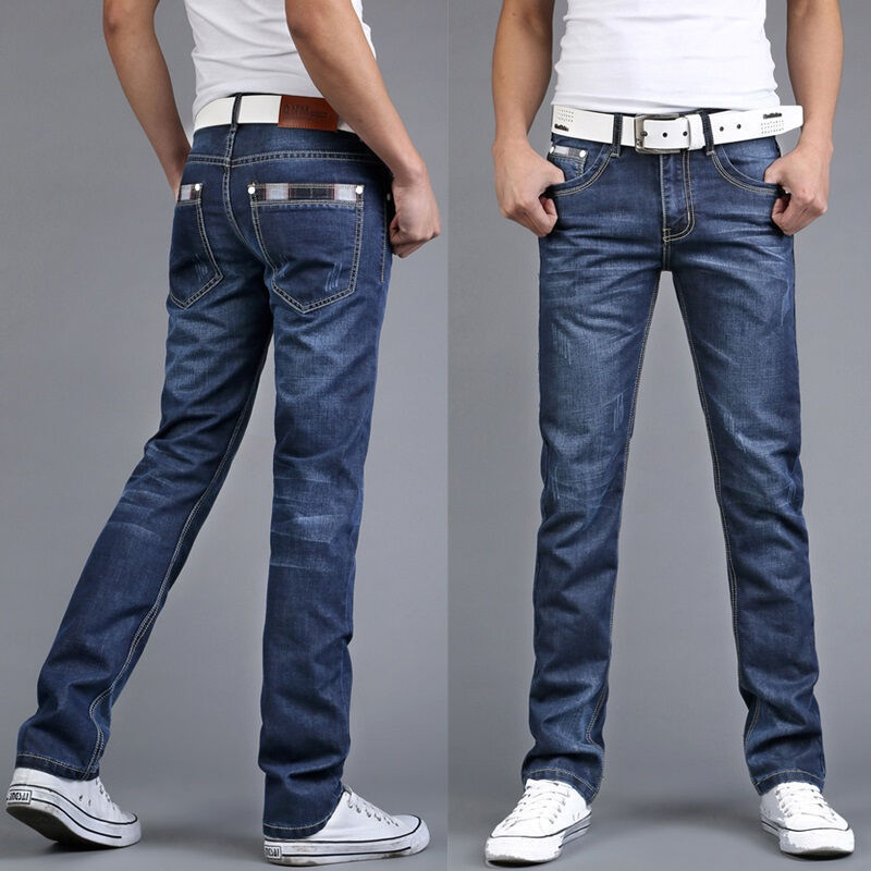 Mens fashion mens Slim jeans feet pants casual trousers Teenagers AL87 ...