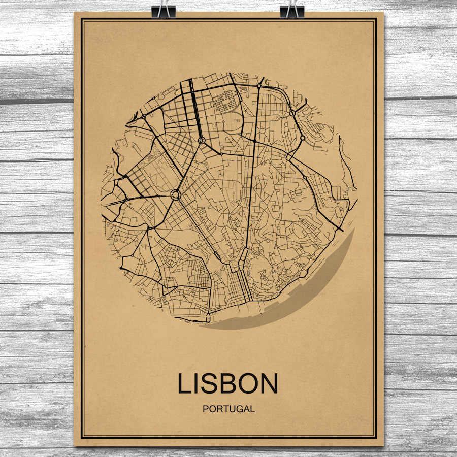 Vintage Retro Lissabon Poster Krafts Papier Wereldstad Map Wall Art Sticker Antieke Schilderij Woonkamer Home Decor Cafe Gratis schip