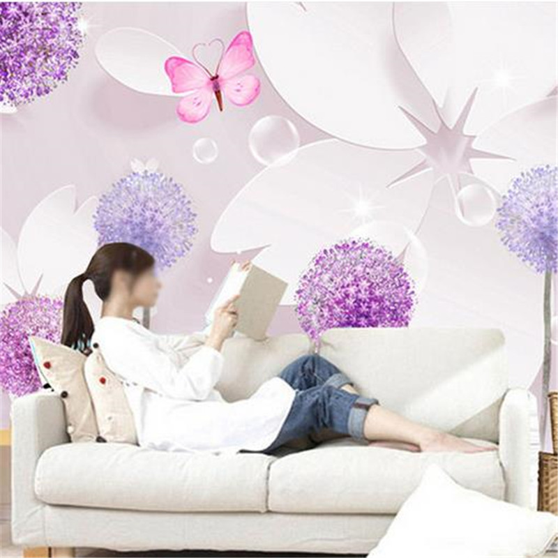 Custom Photo Wallpapers 3D Floral Dandelion Murals Wallpaper for Living Room Flowers Purple Modern Luxury Wall Papers Home Decor beibehang hot sale romantic dandelion wedding home 3d wallpaper purple pink yellow non woven flowers wallpapers mural wall p
