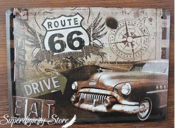 retro poster usa route 66 road vintage tin sign commercial. Black Bedroom Furniture Sets. Home Design Ideas