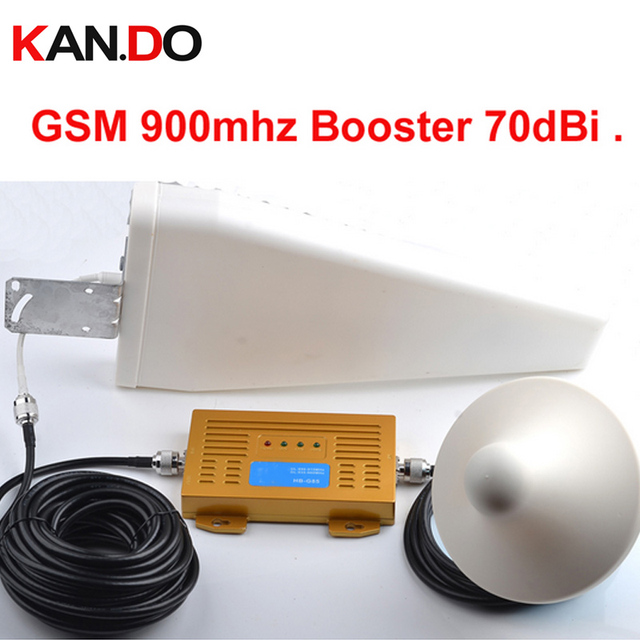 US $151 52 |High gain 70dbi high quality GSM booster kits w/ antenna cable  GSM repeater,900mhz booster,mobile phone signal booster repeater-in Signal