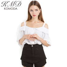 KMD KOMODA Preppy Style Fashion Shirts Off-shoulder Turn-down Collar Women Tops Buttons lantern Sleeve Solid Female Blouses