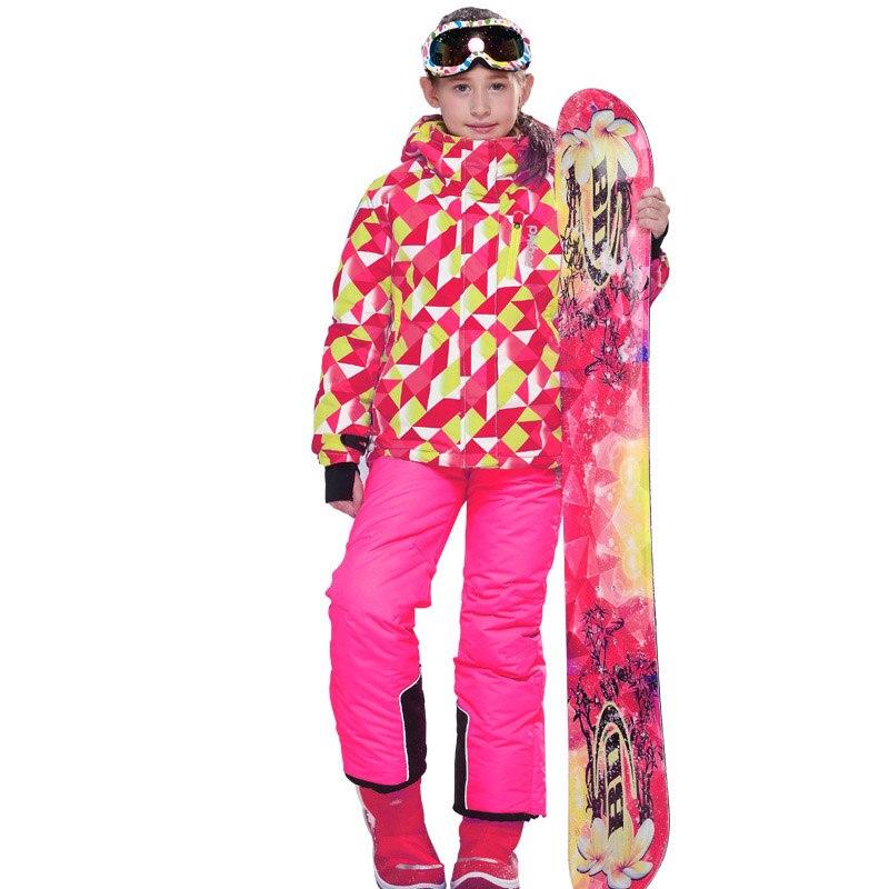 1 combinaison de Ski pour filles pantalon imperméable + veste Snowboard ensemble Sports d'hiver Camping randonnée vêtements filles veste de neige vêtements thermiques