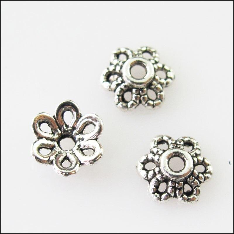 Flower End Bead Caps Connectors 11mm 10Pcs Tibetan Silver 6Leaf