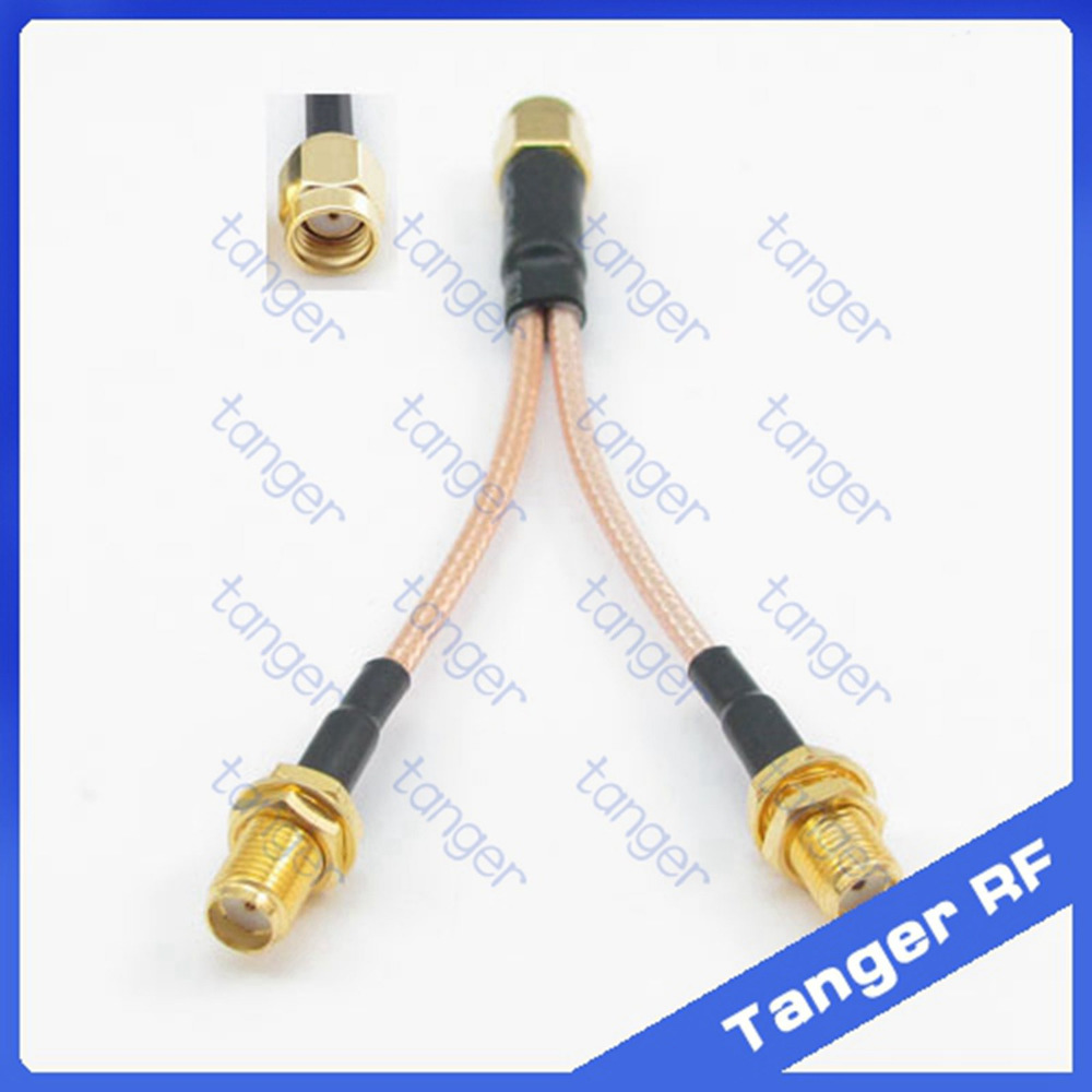 2015 Y type RF cable 1 RP-SMA male plug to 2 SMA female jack connector with 8inch 20cm RG316 RG-316 Coaxial Pigtail Jumper cable 6pcs adapter rp sma jack male to 2 rp sma plug female t rf connector triple