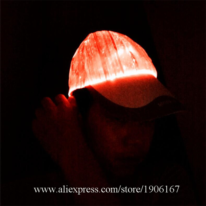 New led fiber 7 color light hat Bar music festival Judi night light hat Fashion light hat02